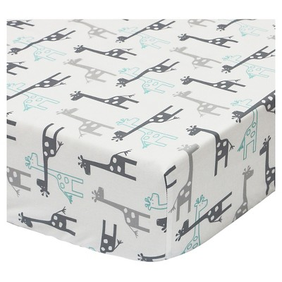The Peanut Shell Cotton Fitted Crib Sheet - Uptown Giraffe