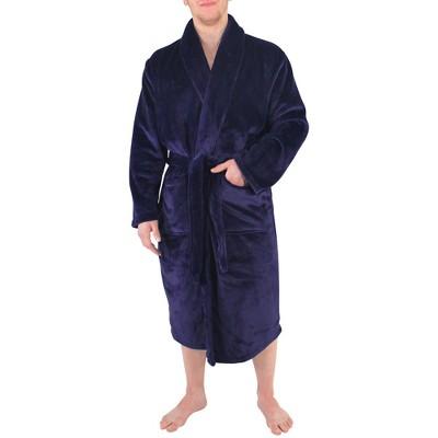 Hudson Home Collection Mens Boy Shawl Collar Plush Robe, Navy, Large X-Large (Lxl)