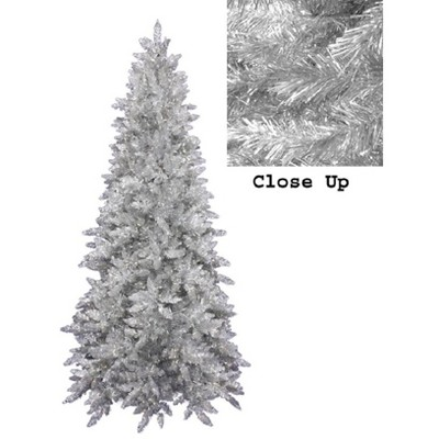 Allstate Floral 9' Unlit Artificial Christmas Tree Slim Silver Downswept Tinsel Pine