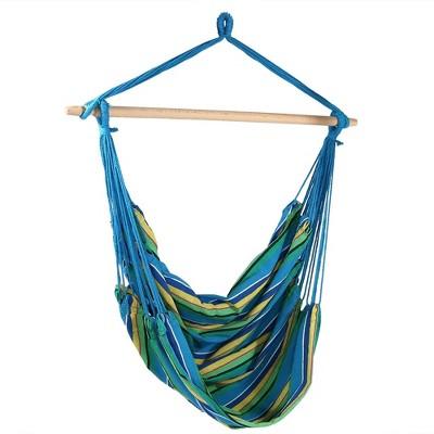 Ocean Breeze Jumbo Hanging Rope Hammock Chair Swing - Blue/Green/Yellow - Sunnydaze Decor