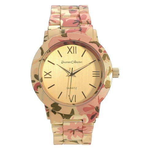 Women's Journee Collection Round Face Floral Print Link Watch - image 1 of 2