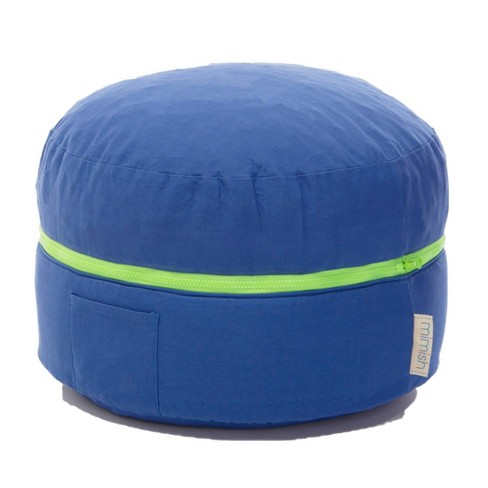 Awe Inspiring Finn Cotton Exposed Zipper Storage Pouf Bright Blue Mimish Squirreltailoven Fun Painted Chair Ideas Images Squirreltailovenorg