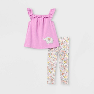 Toddler Girls' 2pc Elephant Floral Tank Top and Bottom Set - Just One You® made by carter's Purple