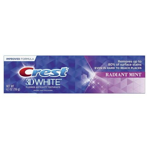 Crest 3d White Whitening Toothpaste Radiant Mint 4 1 Oz Target