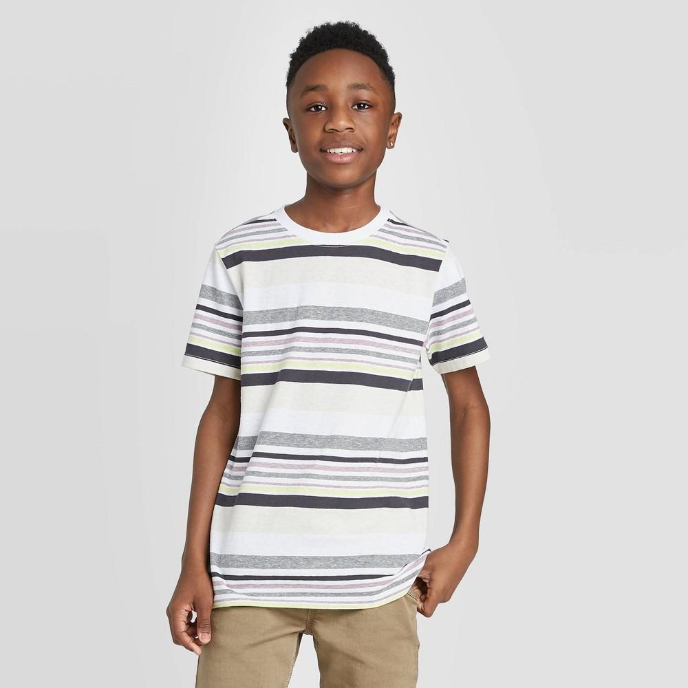 Image of petiteBoys' Short Sleeve Stripe T-Shirt - Cat & Jack White L, Boy's, Size: Large