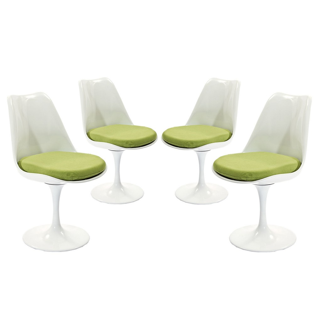 Lippa Dining Side Chair Fabric Set of 4 Green - Modway