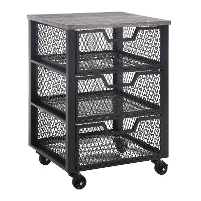 3 Drawer Jarrett Rolling Cart Black - OSP Home Furnishings