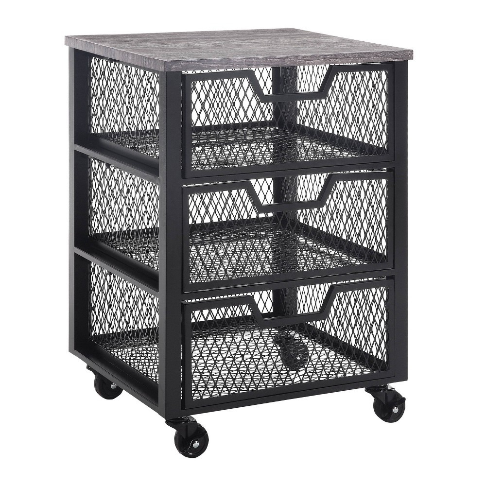 3 Drawer Jarrett Rolling Cart Black Osp Home Furnishings