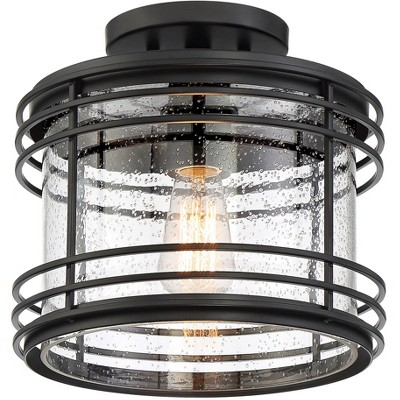 """Possini Euro Design Modern Outdoor Ceiling Light Fixture Black Geometric 11"""" Clear Seedy Glass for Exterior House Porch Patio Deck"""