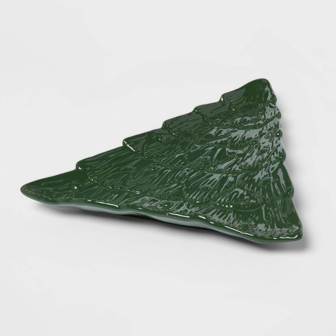 """15"""" x 13.5"""" Stoneware Figural Tree Serving Tray Green - Threshold™ - image 1 of 3"""