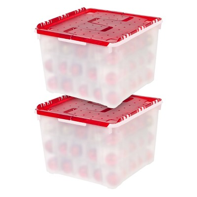 IRIS 2pk Ornament Storage Box Pearl Red