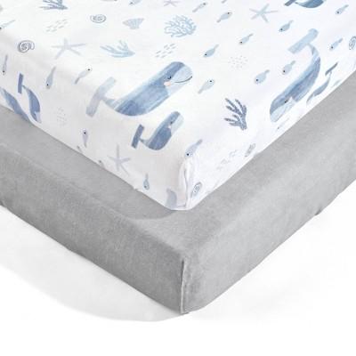 Lush Décor Seaside Micro Mink Fitted Crib Sheet - Blue 2pk