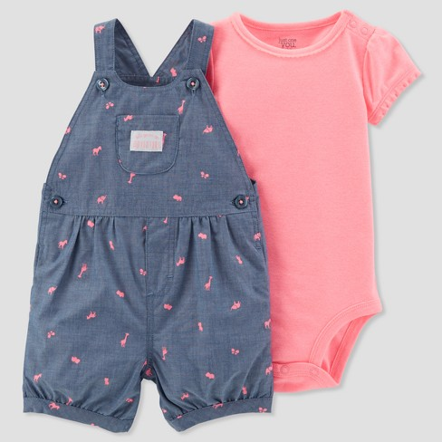 Baby Girls' 2pc Adventure Shortall Set - Just One You® made by carter's Pink/Navy - image 1 of 1