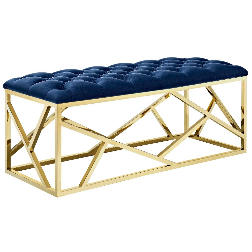 Intersperse Bench Gold Navy - Modway