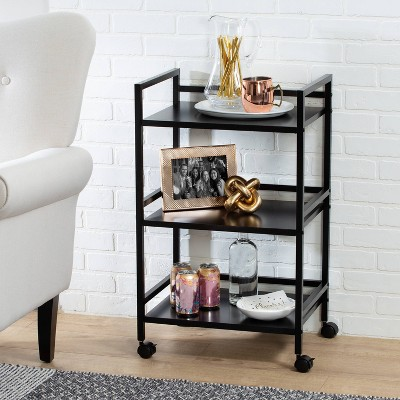 Honey-Can-Do 3-Tier Metal Rolling Cart Black