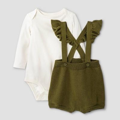 Baby Girls' 2pc Ruffle Shoulder Bodysuit & Sweater Set - Cat & Jack™ Olive Green 0-3M