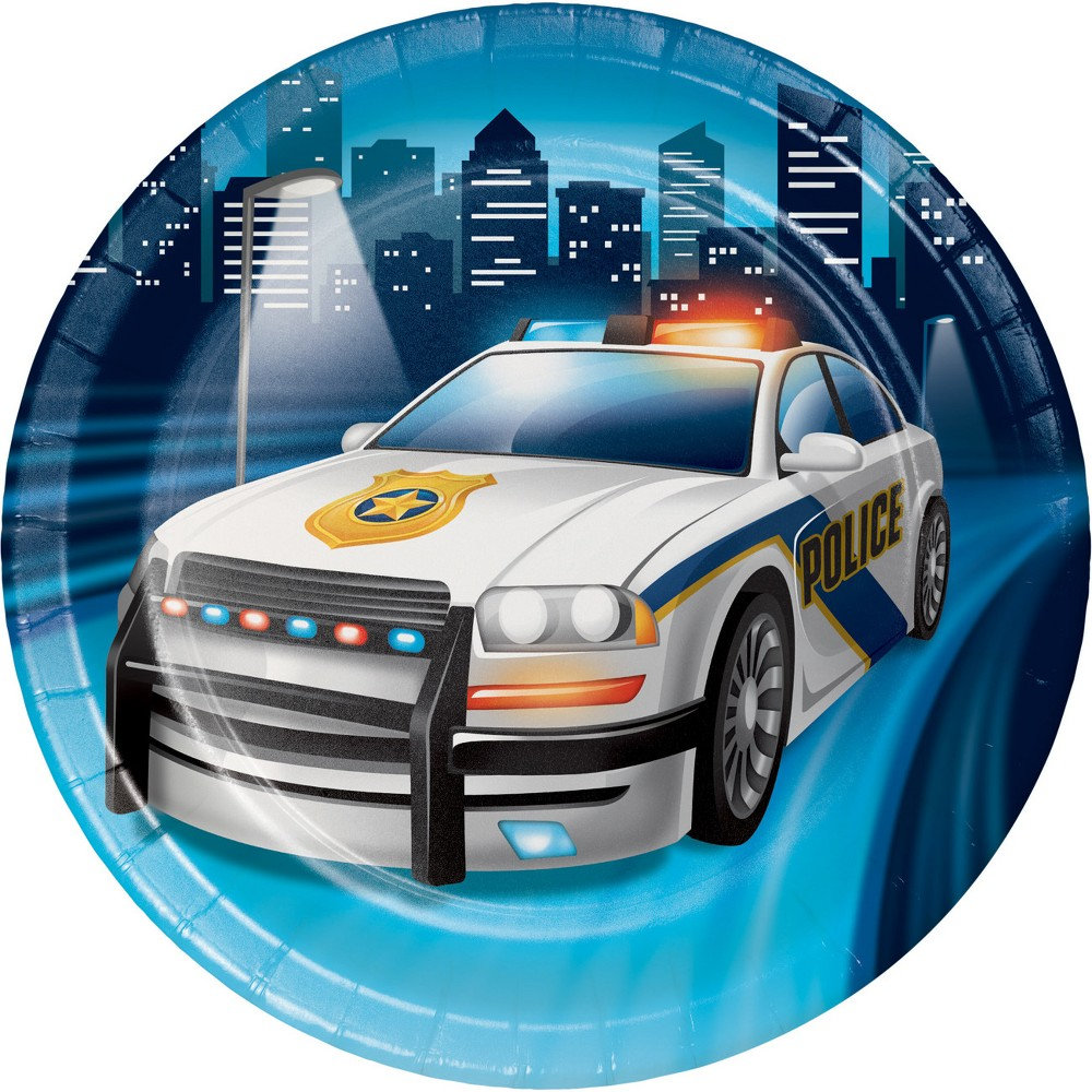 24ct Police Party Dessert Plates Blue