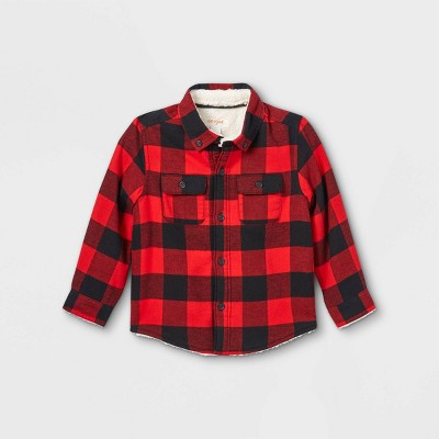 Toddler Boys' Sherpa Lined Flannel Long Sleeve Button-Down Shirt - Cat & Jack™ Red