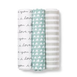 Muslin Swaddle Blanket I Love You 3pk - Cloud Island™ Black/White