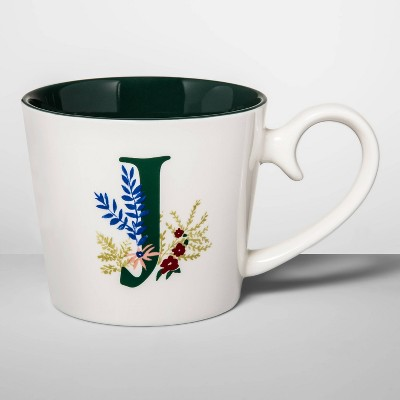 16oz Stoneware Monogram Mug Cream J - Opalhouse™
