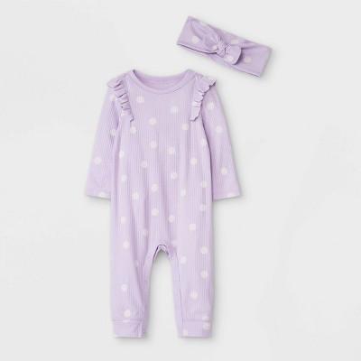 Baby Girls' Dot Rib Romper with Headband - Cat & Jack™ Purple/Cream