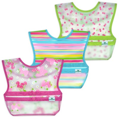 green sprouts Snap & Go Wipe-off Bibs 3pk Pink Berries