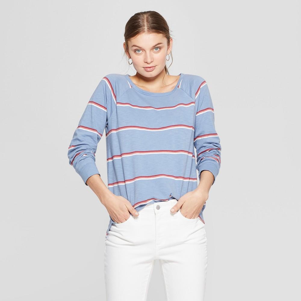 Women's Striped Long Sleeve Crew Neck T-Shirt - Universal Thread XL, Red