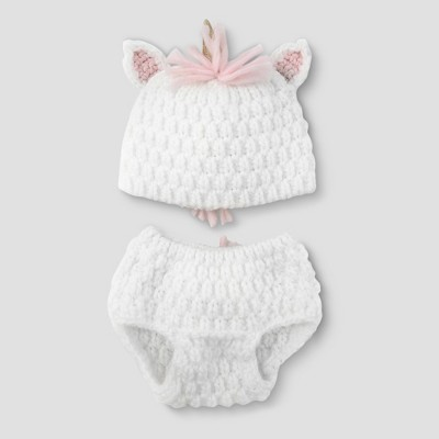 Baby Girls' Unicorn Hat & Diaper Cover Set - Cloud Island™ White