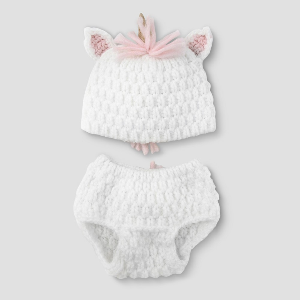 Image of Baby Girls' Unicorn Hat & Diaper Cover Set - Cloud Island White, Girl's, Size: Small, Blue/White