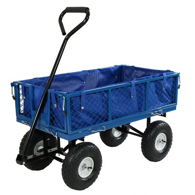 Sunnydaze Outdoor Lawn and Garden Heavy-Duty Steel Utility Cart with Removable Sides and Weather-Resistant Polyester Liner - Blue