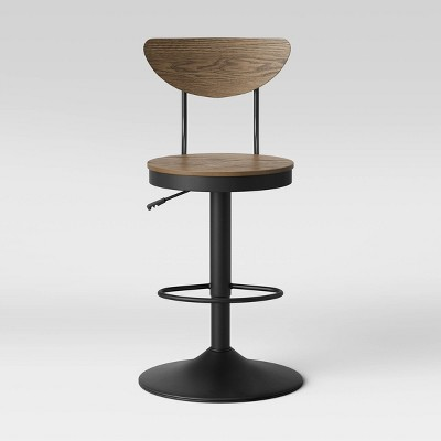 Taunton Gaslift Backed Adjustable Height Barstool Black/Walnut - Threshold™