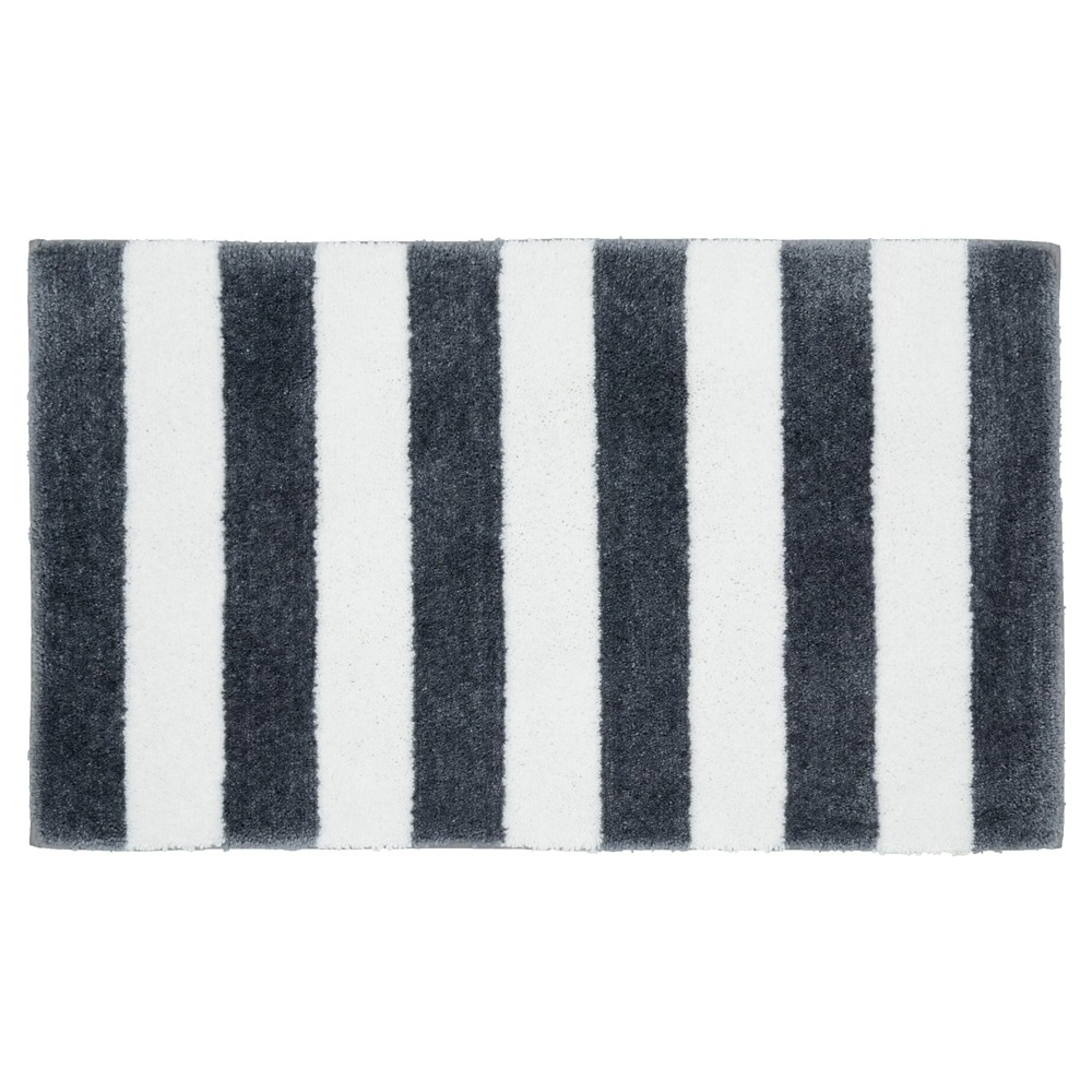 "Image of ""Beach Stripe Bath Rug - Cinder Gray/White - (21""""x34"""") - Garland Rug"""