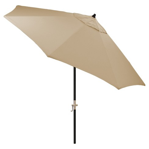 9 Round Sunbrella Umbrella Canvas Heather Beige Black Pole