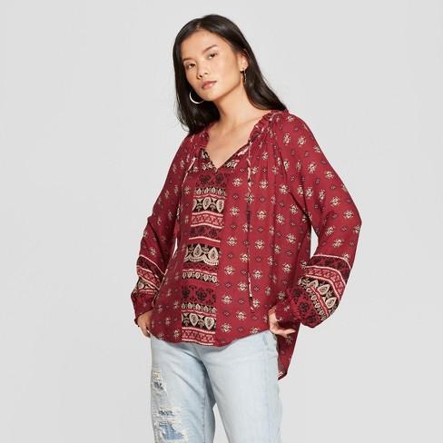 Women s Printed Long Sleeve Peasant Top - Knox Rose   Target 988a11639
