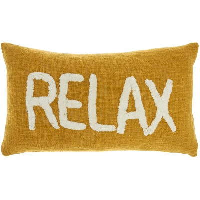 "12""x21"" Life Styles 'Relax' Tufted Lumbar Throw Pillow - Mina Victory"