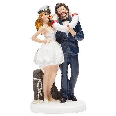 Sparkle and Bash Nautical Bride & Groom Figurines Wedding Cake Topper, Wedding Party Decorations Gifts