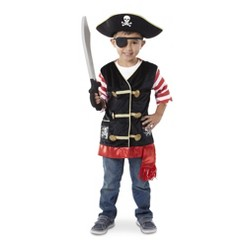 Melissa & Doug Pirate Role Play Costume Dress-Up Set With Hat, Sword, and Eye Patch, Adult Unisex, Size: Small, Gold