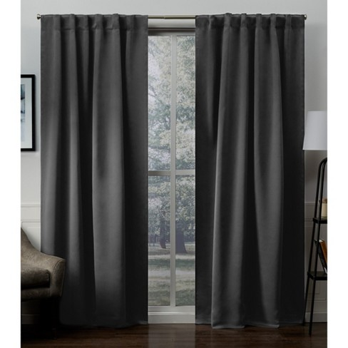 Sateen Blackout Hidden Tab Window Curtain Panel Pair Exclusive Home - image 1 of 4