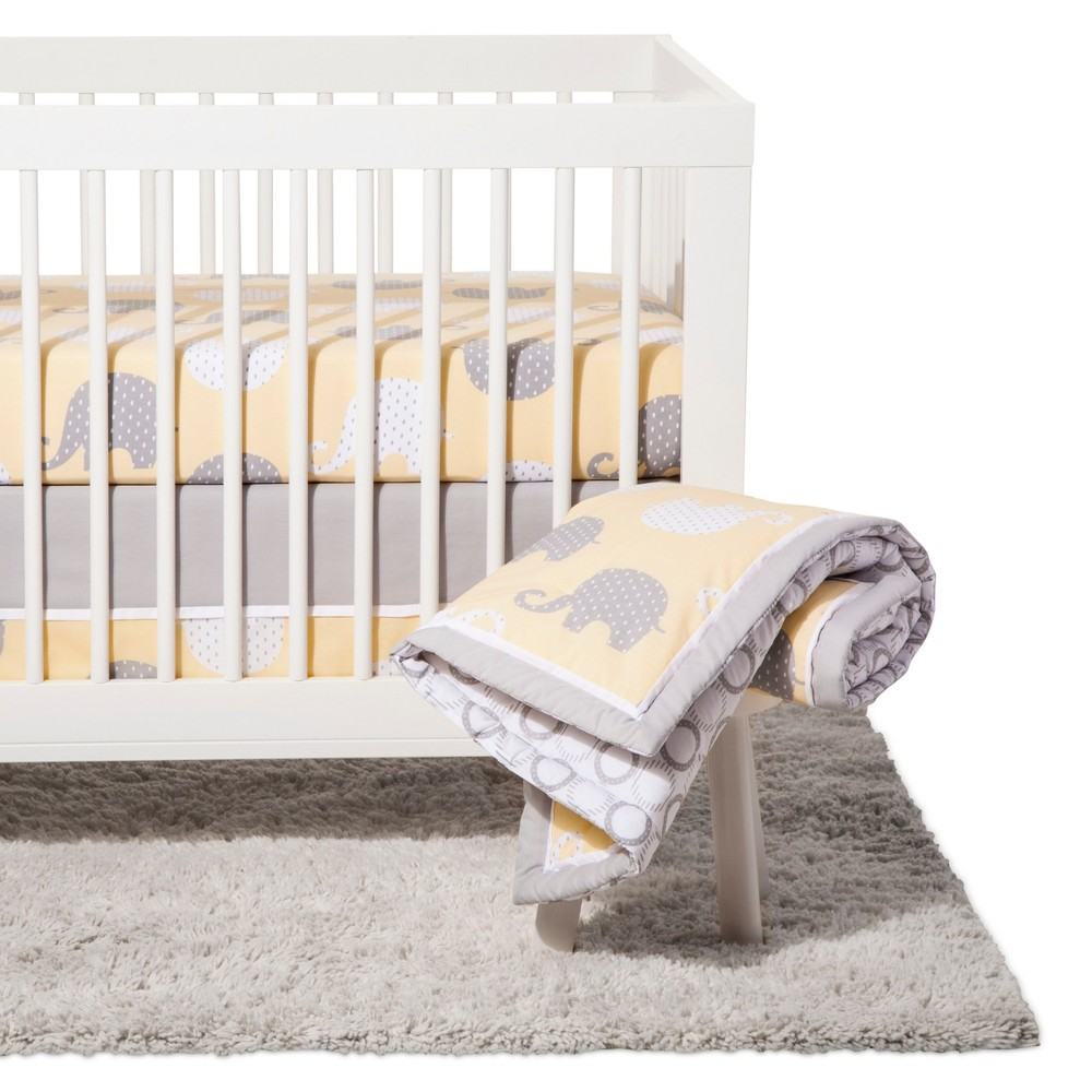 Image of NoJo Crib Bedding Set 8pc - Elephant Dream - Yellow/Gray
