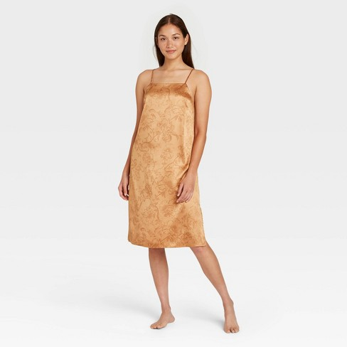 Women's Floral Print Satin Nightgown - Stars Above™ Gold - image 1 of 2