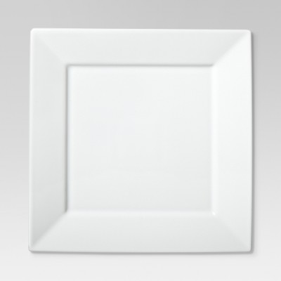 Square Rim Dinner Plate 10.2 x10.2  Set of 4 - White - Threshold™