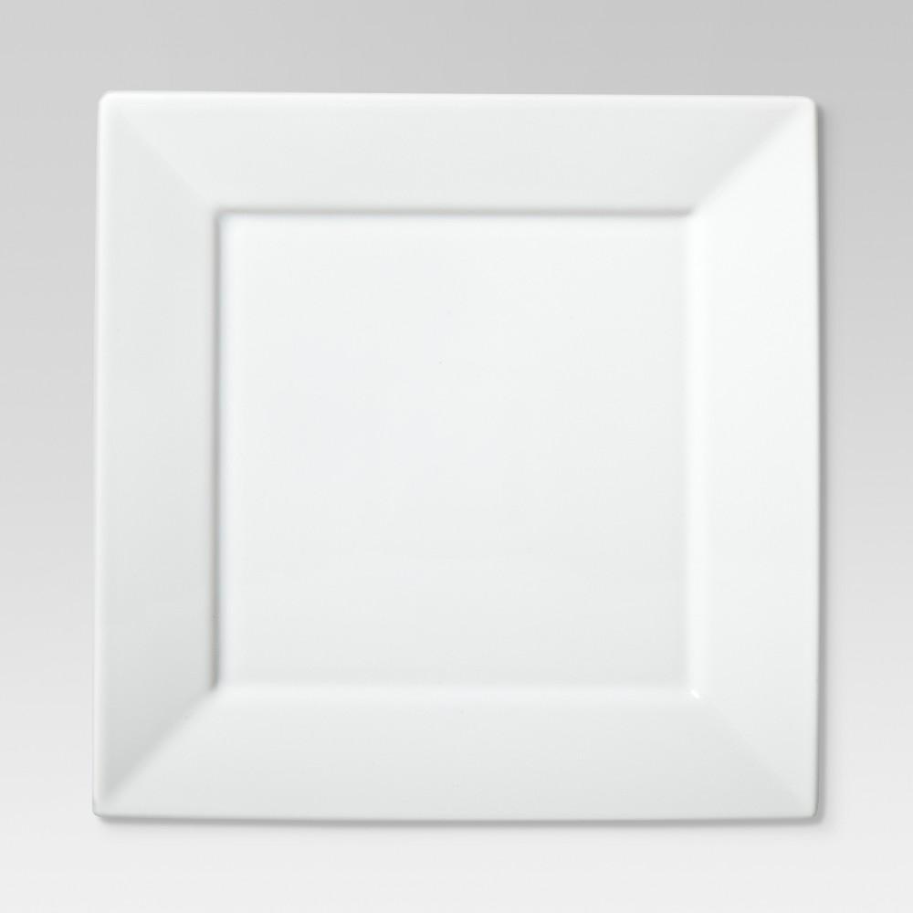 Square Rim Dinner Plate 10.2x10.2 Set of 4 - White - Threshold Cheap