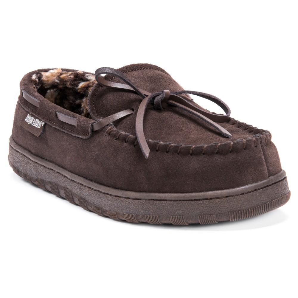 Image of Men's MUK LUKS Berber Suede Moccasin Slippers - Brown 12, Men's
