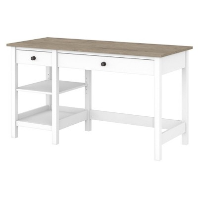 54W Mayfield Computer Desk with Shelves Shiplap Gray/Pure White - Bush Furniture