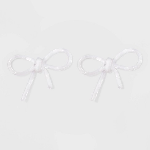 SUGARFIX by BaubleBar Clear Acrylic Bow Earrings - White - image 1 of 3