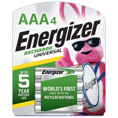 Energizer 4pk Recharge Universal Rechargeable AAA Batteries