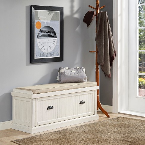 Seaside Entryway Storage Bench Distressed White - Crosley - image 1 of 12