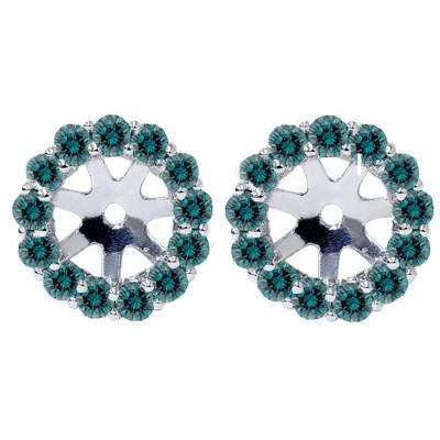 Pompeii3 Women's 3/4ct Halo Blue Diamond Earring Jackets 14K White Gold (4.5-6mm)