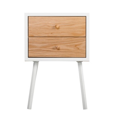 Abacus 2 Drawer Side Table Oak Brown/White - Universal Expert
