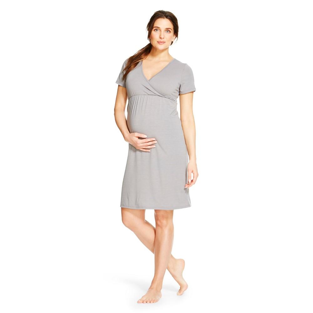 Eve Alexander Maternity Short Sleeve Empire Waist Sleep Shirt, Women's, Size: XL, Gray